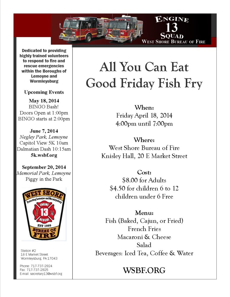 Good Friday Fish Fry April 18, 2014
